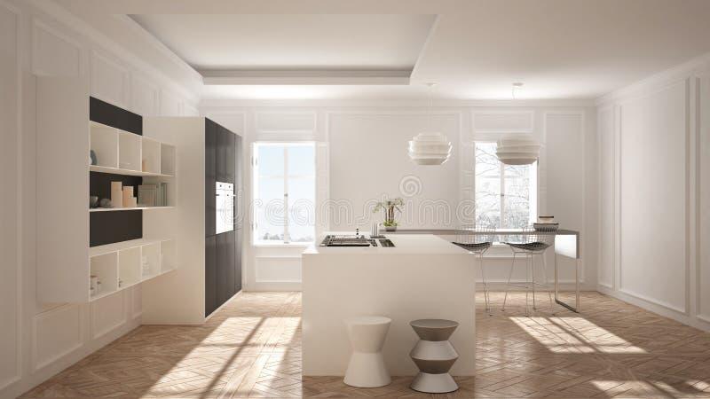 Σύγχρονα έπιπλα κουζινών στο κλασικό δωμάτιο, παλαιό παρκέ, minimalis απεικόνιση αποθεμάτων