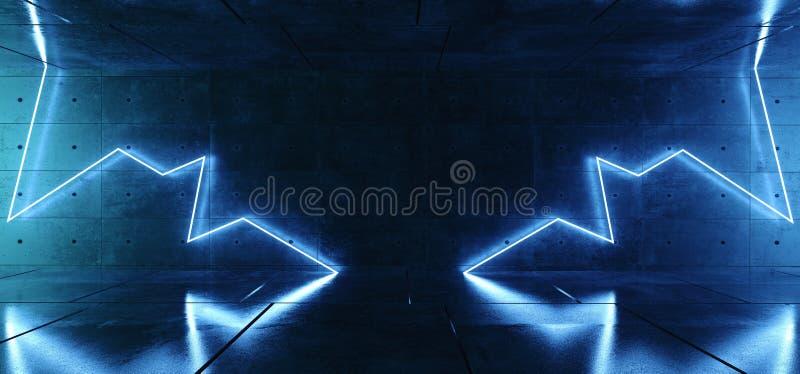 Σύγχρονα αναδρομικά φουτουριστικά μπλε φω'τα λεσχών λέιζερ πυράκτωσης νέου νέου αφηρημένα στο σκοτεινό διάστημα δωματίων Grunge σ απεικόνιση αποθεμάτων