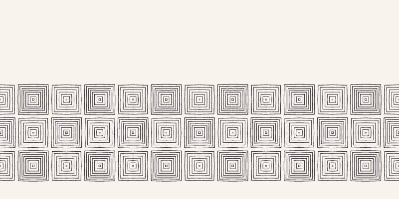 Σύγχρονα γεωμετρικά συρμένα χέρι υφαμένα σύνορα τετραγώνων Επανάληψη της αφηρημένης περιποίησης κορδελλών ορθογωνίων κλίσης Διακο ελεύθερη απεικόνιση δικαιώματος