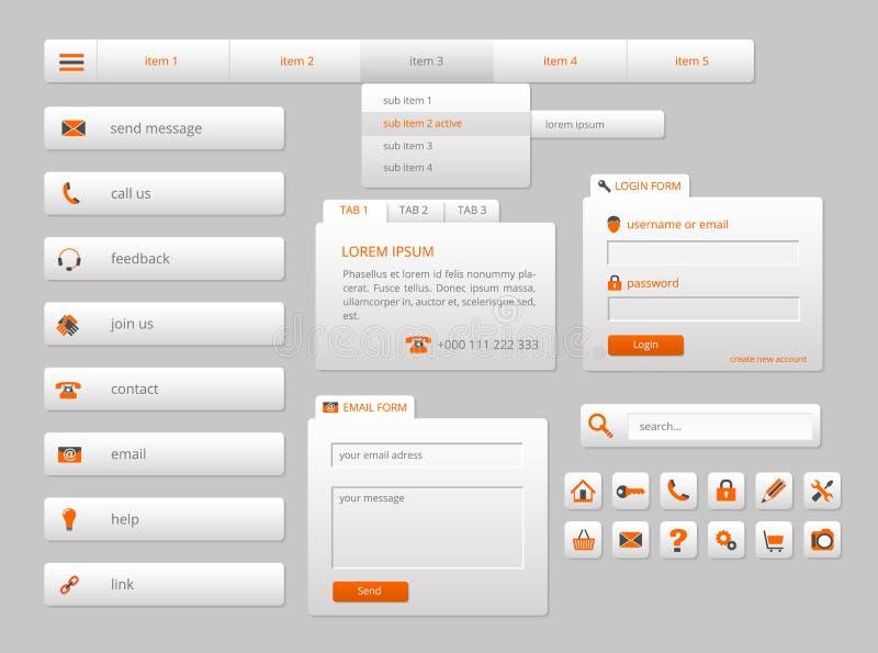 Σύγχρονα γκρίζα στοιχεία Ιστού ui με τα πορτοκαλιά εικονίδια ελεύθερη απεικόνιση δικαιώματος