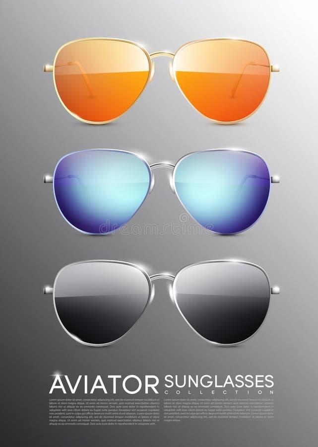 Σύγχρονα γυαλιά ηλίου αεροπόρων καθορισμένα απεικόνιση αποθεμάτων