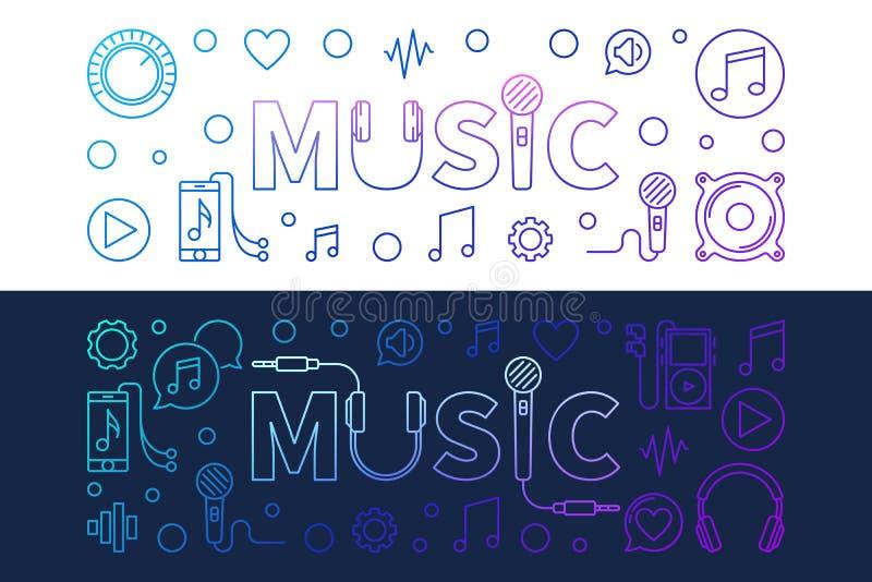 Σύγχρονα διανυσματικά χρωματισμένα εμβλήματα μουσικής στο ύφος περιλήψεων ελεύθερη απεικόνιση δικαιώματος