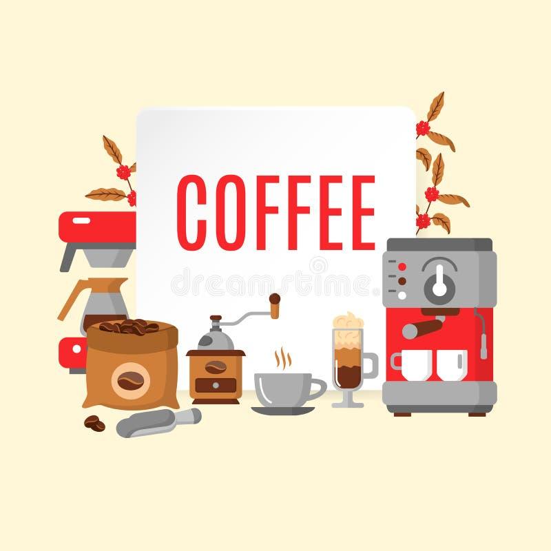 Σύγχρονα εικονίδια για τη καφετερία και το σπίτι καφέ διανυσματική απεικόνιση
