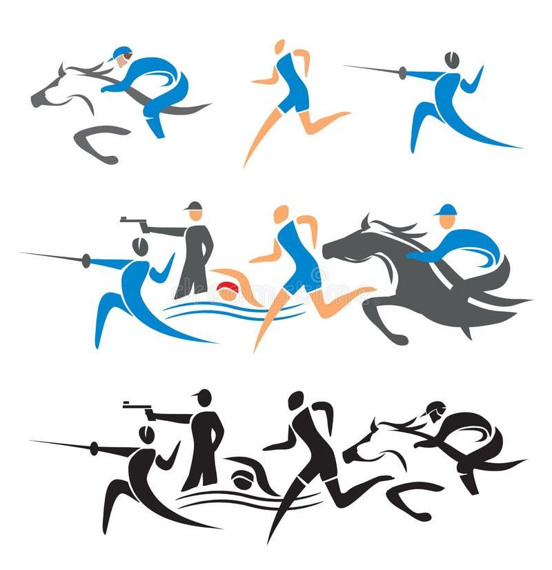 Σύγχρονα εικονίδια pentathlon απεικόνιση αποθεμάτων
