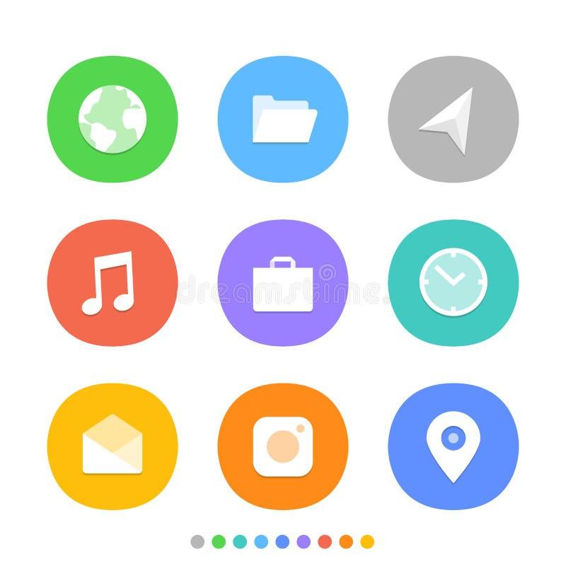 Σύγχρονα εικονίδια smartphone καθορισμένα χρωματίστε τα διαφορετικά εικονίδια ελεύθερη απεικόνιση δικαιώματος