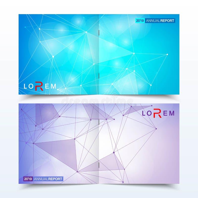 Σύγχρονα ελάχιστα διανυσματικά πρότυπα σχεδίου κάλυψης σχεδιαγράμματος για το τετραγωνικό φυλλάδιο ή το ιπτάμενο Επιστημονική ένν διανυσματική απεικόνιση