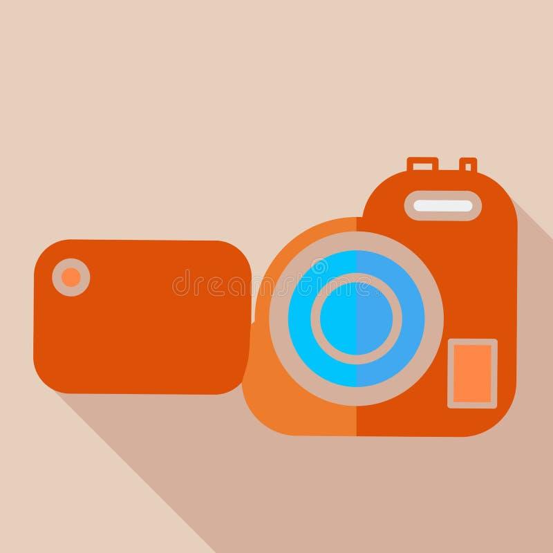 Σύγχρονα επίπεδα βιντεοκάμερα εικονιδίων έννοιας σχεδίου απεικόνιση αποθεμάτων