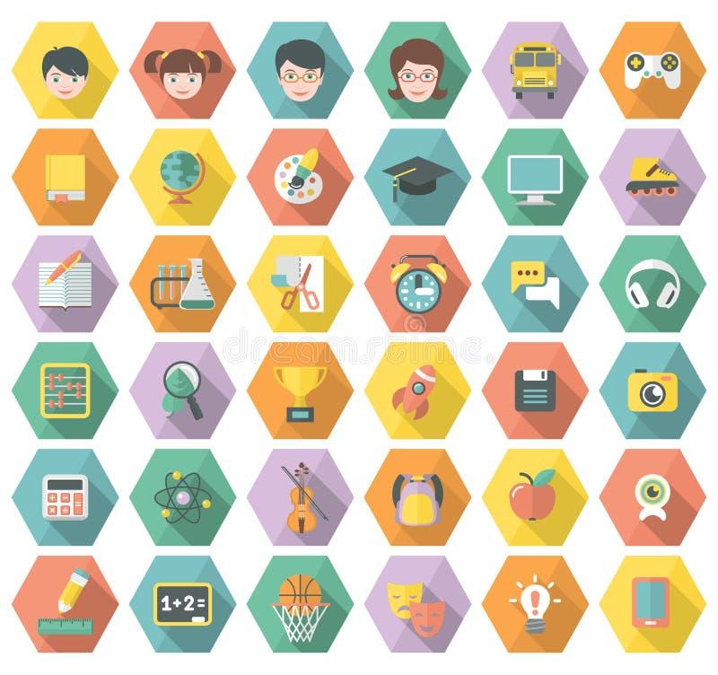 Σύγχρονα επίπεδα εικονίδια εκπαίδευσης και ελεύθερου χρόνου Hexagon διανυσματική απεικόνιση