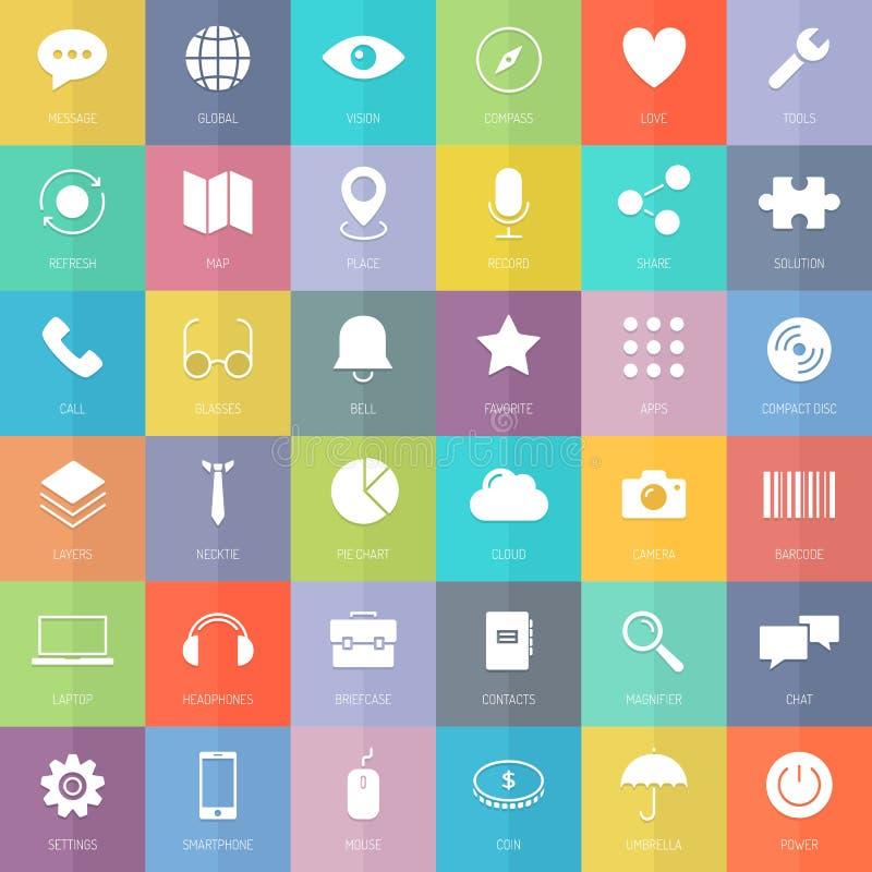 Σύγχρονα επίπεδα εικονίδια επιχειρήσεων και τεχνολογίας καθορισμένα απεικόνιση αποθεμάτων