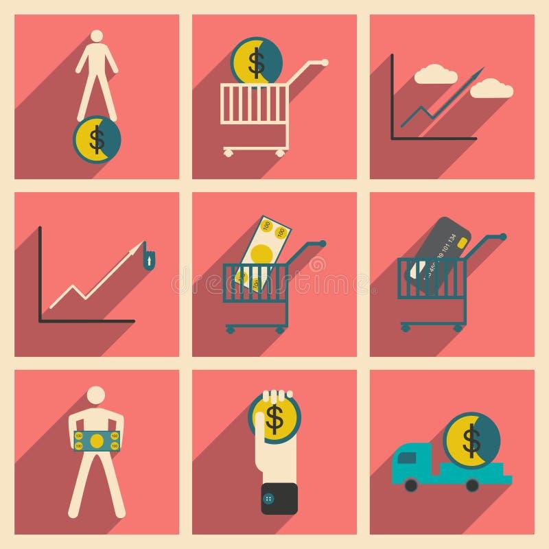 Σύγχρονα επίπεδα εικονίδια συλλογής με τα οικονομικά και τη χρηματοδότηση σκιών ελεύθερη απεικόνιση δικαιώματος