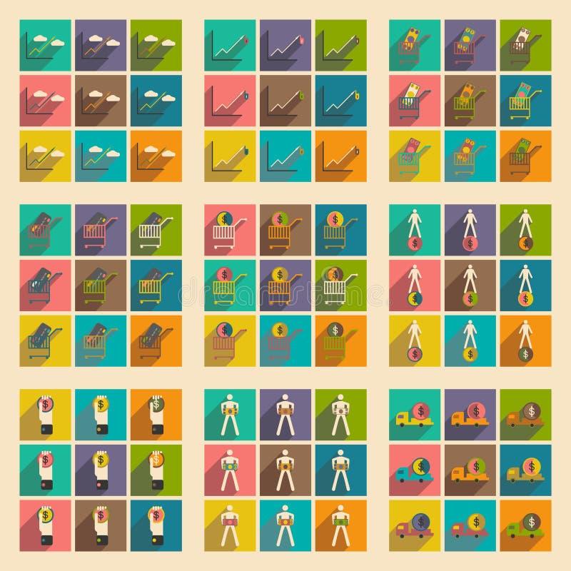 Σύγχρονα επίπεδα εικονίδια συλλογής με τα οικονομικά και τη χρηματοδότηση σκιών διανυσματική απεικόνιση