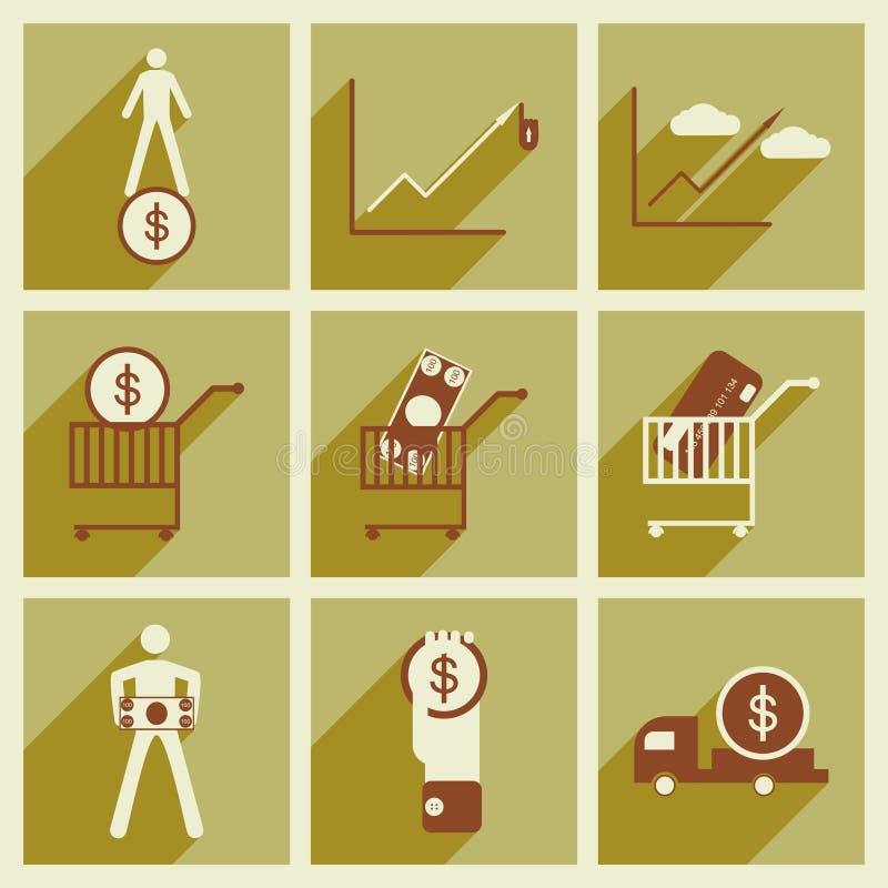 Σύγχρονα επίπεδα εικονίδια συλλογής με τα οικονομικά σκιών διανυσματική απεικόνιση
