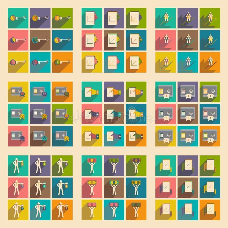 Σύγχρονα επίπεδα εικονίδια συλλογής με την οικονομία σκιών ελεύθερη απεικόνιση δικαιώματος