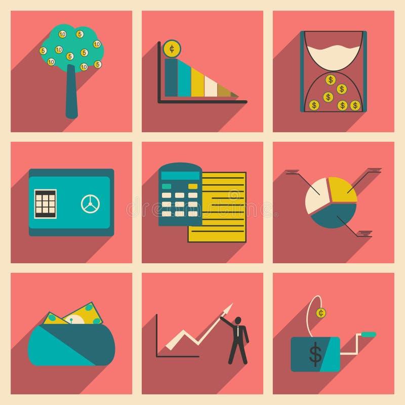 Σύγχρονα επίπεδα εικονίδια συλλογής με την οικονομία σκιών διανυσματική απεικόνιση