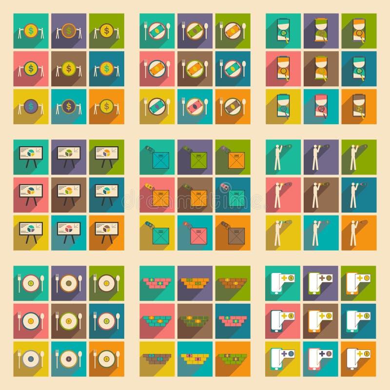 Σύγχρονα επίπεδα εικονίδια συλλογής με τη σκιά οικονομική απεικόνιση αποθεμάτων
