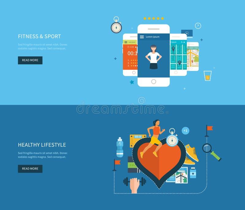 Σύγχρονα επίπεδα διανυσματικά εικονίδια του υγιούς τρόπου ζωής ελεύθερη απεικόνιση δικαιώματος