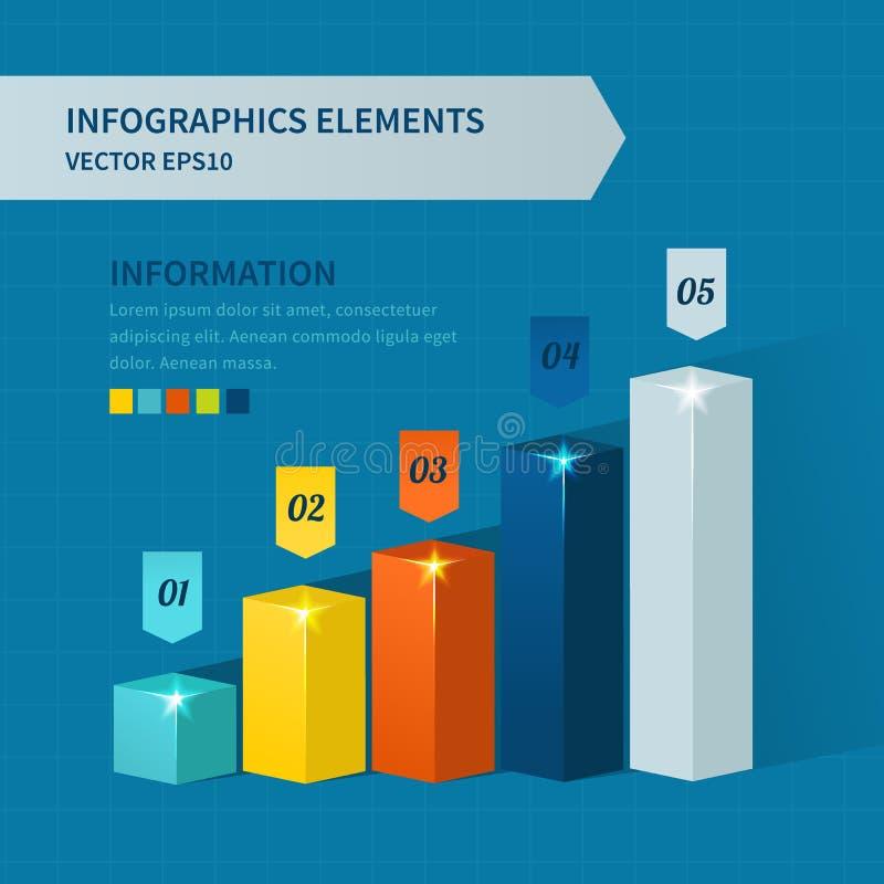 Σύγχρονα επιχειρησιακά βήματα στα διαγράμματα και τις γραφικές παραστάσεις επιτυχίας διανυσματική απεικόνιση