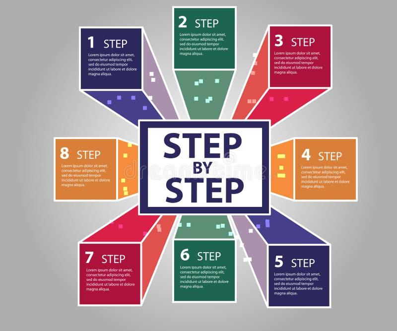 Σύγχρονα επιχειρησιακά βήματα στο έμβλημα επιλογών επιτυχίας ελεύθερη απεικόνιση δικαιώματος