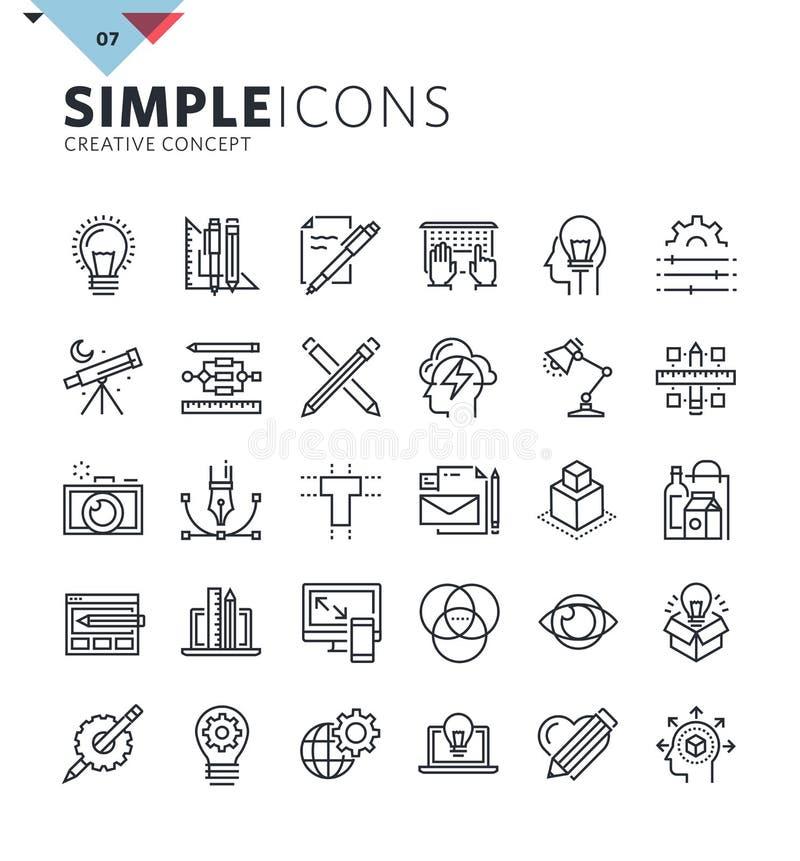 Σύγχρονα λεπτά εικονίδια γραμμών του γραφικού σχεδίου και της δημιουργικής εργασίας ελεύθερη απεικόνιση δικαιώματος