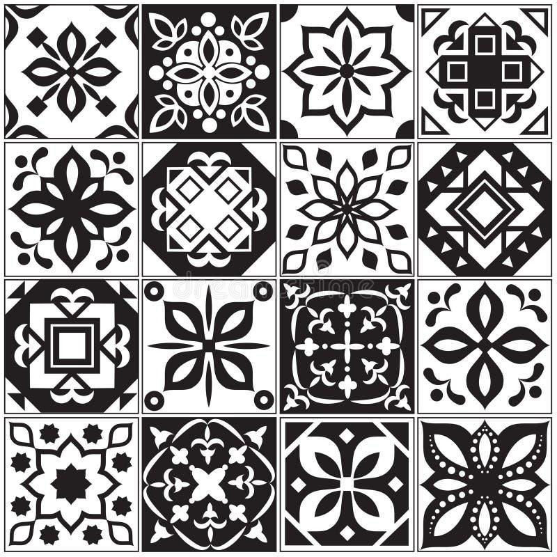 Σύγχρονα εσωτερικά ισπανικά και τουρκικά κεραμίδια Floral διανυσματικά σχέδια κουζινών ελεύθερη απεικόνιση δικαιώματος