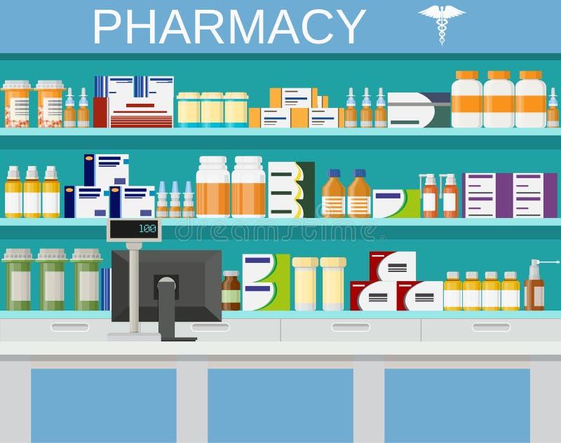 Σύγχρονα εσωτερικά φαρμακείο και φαρμακείο ελεύθερη απεικόνιση δικαιώματος