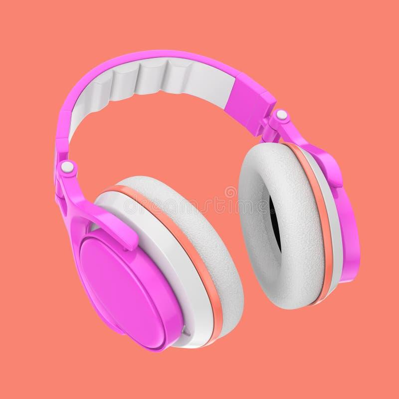 Σύγχρονα ζωηρόχρωμα ακουστικά εφήβων διασκέδασης τρισδιάστατη απόδοση απεικόνιση αποθεμάτων