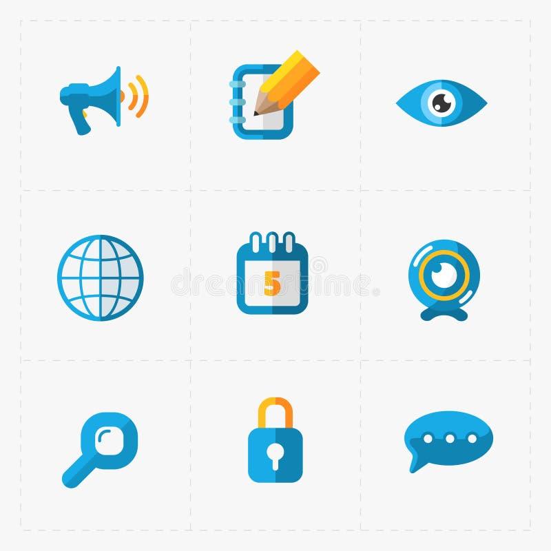 Σύγχρονα ζωηρόχρωμα επίπεδα κοινωνικά εικονίδια που τίθενται στο λευκό ελεύθερη απεικόνιση δικαιώματος