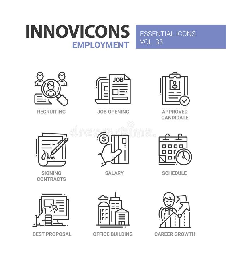 Σύγχρονα διανυσματικά εικονίδια γραμμών απασχόλησης καθορισμένα διανυσματική απεικόνιση