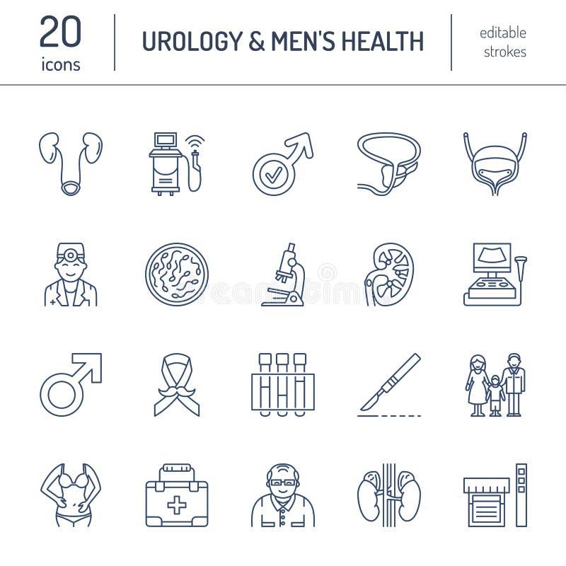 Σύγχρονα διανυσματικά εικονίδια γραμμών urology Στοιχεία - urologist, κύστη, ογκολογικό urology, νεφρά, επινεφρίδιος αδένας διανυσματική απεικόνιση