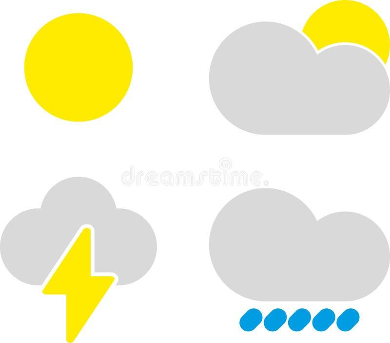 Σύγχρονα καιρικά εικονίδια καθορισμένα Επίπεδα σύμβολα στο άσπρο υπόβαθρο ελεύθερη απεικόνιση δικαιώματος