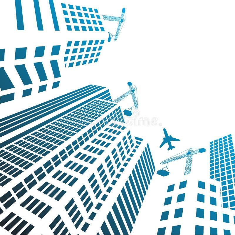Σύγχρονα κτήρια και γυαλί γραφείων κάτω από τις σκιαγραφίες οικοδόμησης ελεύθερη απεικόνιση δικαιώματος