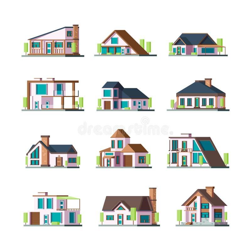 Σύγχρονα κτήρια Townhouse βιλών σπιτιών διαβίωσης προαστιακές διανυσματικές επίπεδες απεικονίσεις πύργων κατασκευών προσόψεων διανυσματική απεικόνιση