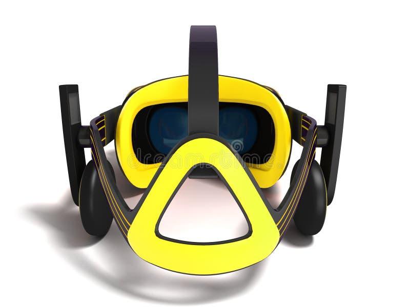 Σύγχρονα μαύρα γυαλιά εικονικής πραγματικότητας με τις κίτρινες παρεμβολές πίσω από 3 ελεύθερη απεικόνιση δικαιώματος