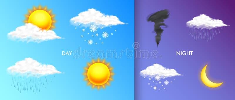 Σύγχρονα ρεαλιστικά καιρικά εικονίδια καθορισμένα Σύμβολα μετεωρολογίας στο διαφανές υπόβαθρο Διανυσματική απεικόνιση χρώματος γι απεικόνιση αποθεμάτων