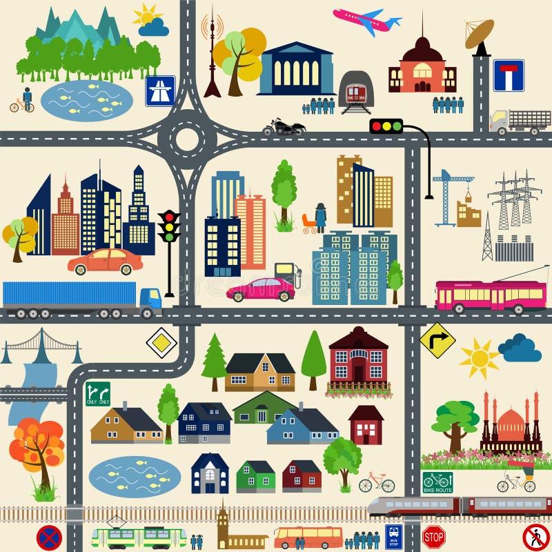 Σύγχρονα στοιχεία χαρτών πόλεων για την παραγωγή του infographics σας, μ διανυσματική απεικόνιση