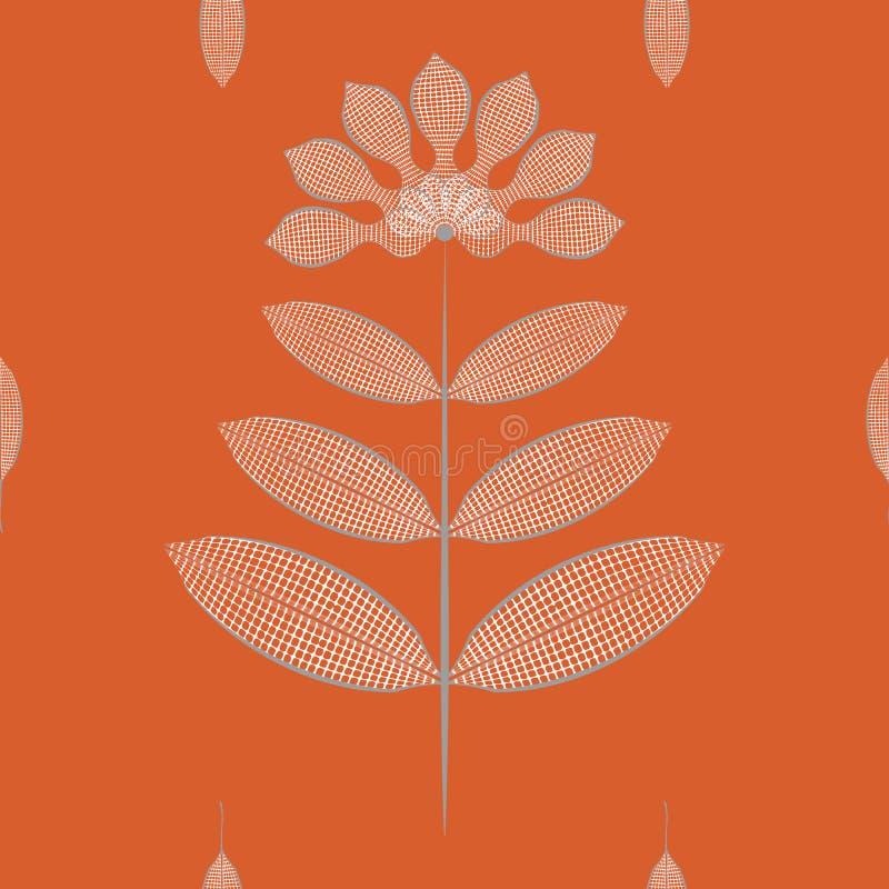 Σύγχρονα τυποποιημένα λουλούδια και φύλλα με την άσπρη σύσταση βαφλών Άνευ ραφής διανυσματικό σχέδιο στο πλούσιο πορτοκαλί υπόβαθ διανυσματική απεικόνιση