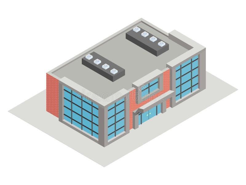 Σύγχρονα isometric σκυρόδεμα και τούβλο κτηρίου ελεύθερη απεικόνιση δικαιώματος