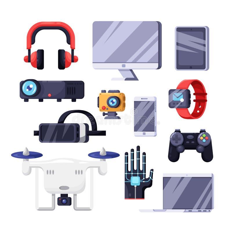 Σύγχρονες έξυπνες συσκευές, πολυμέσα, σύμβολα τεχνολογίας και ηλεκτρονικής Διανυσματικά απομονωμένα επίπεδα εικονίδια καθορισμένα διανυσματική απεικόνιση