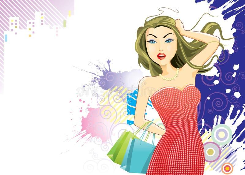 σύγχρονες αγορές κοριτσιών απεικόνιση αποθεμάτων