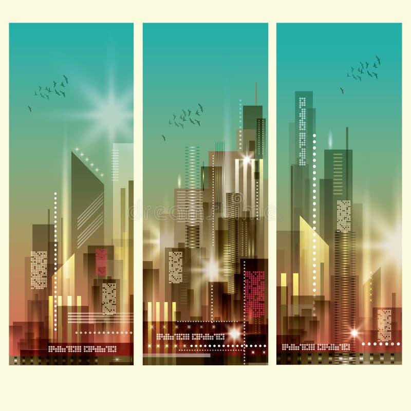 Σύγχρονες εικονικές παραστάσεις πόλης 3 κάθετα εμβλήματα απεικόνιση αποθεμάτων