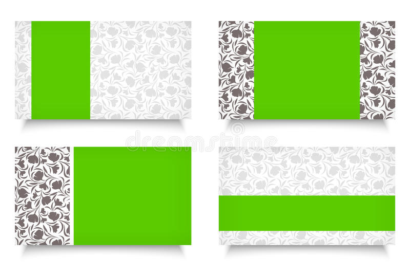 Σύγχρονες επαγγελματικές κάρτες με τα floral σχέδια. ελεύθερη απεικόνιση δικαιώματος