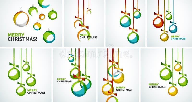 Σύγχρονες κάρτες Χαρούμενα Χριστούγεννας - αφηρημένα μπιχλιμπίδια ελεύθερη απεικόνιση δικαιώματος