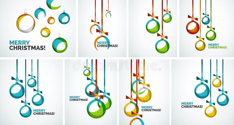 Σύγχρονες κάρτες Χαρούμενα Χριστούγεννας - αφηρημένα μπιχλιμπίδια διανυσματική απεικόνιση