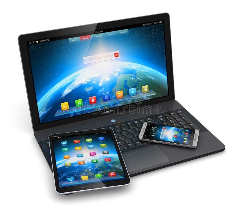Σύγχρονες κινητές συσκευές διανυσματική απεικόνιση