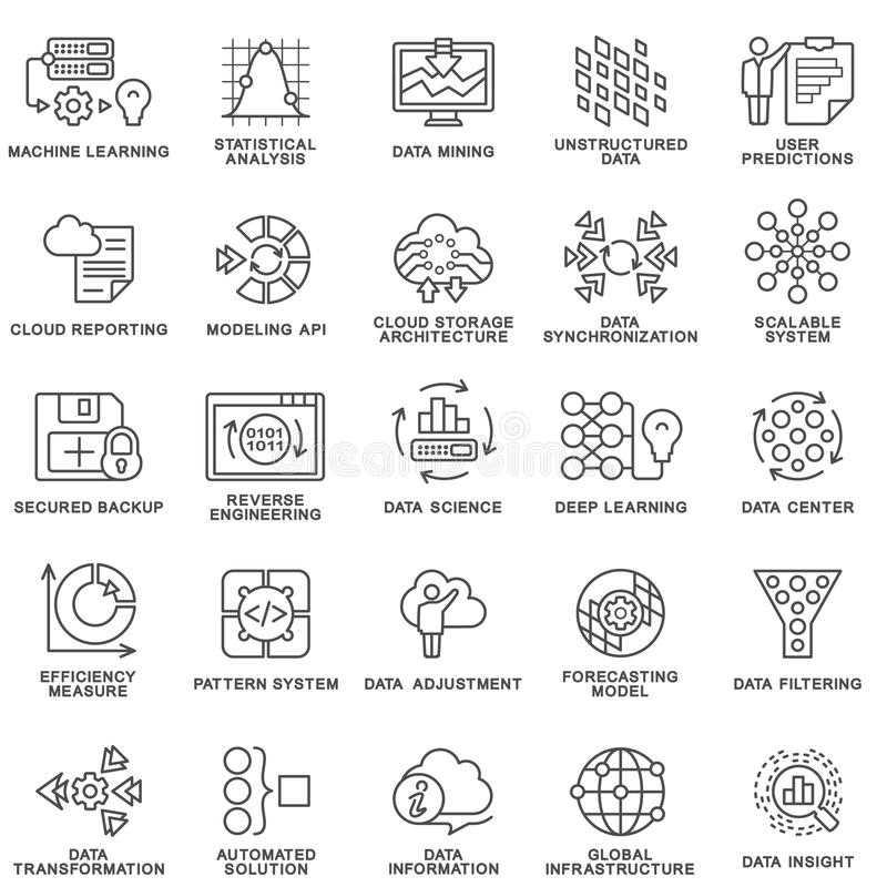 Σύγχρονες μέθοδοι επεξεργασίας βάσεων δεδομένων εικονιδίων περιγράμματος στοιχείων ελεύθερη απεικόνιση δικαιώματος