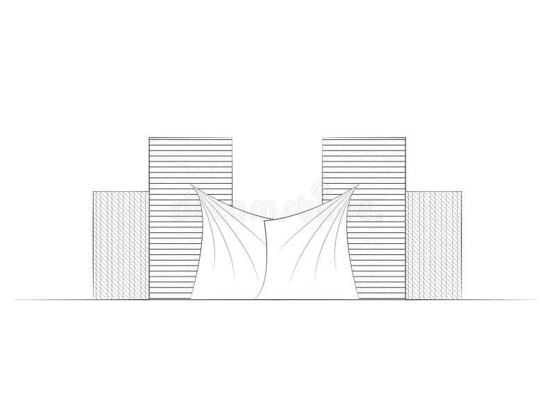 Σύγχρονες μινιμαλιστικές καμπύλες ευθειών γραμμών αρχιτεκτονικής οικοδόμησης απεικόνιση αποθεμάτων