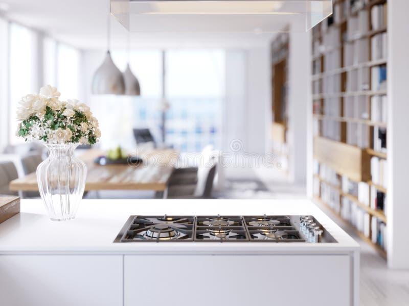 Σύγχρονες τεχνολογικές ενσωματωμένες συσκευές κουζινών, hob, σόμπα αερίου, αναμίκτης, νεροχύτης απεικόνιση αποθεμάτων
