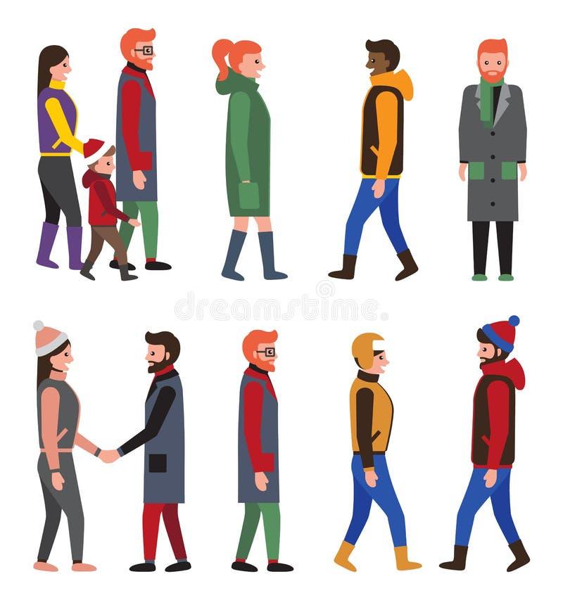 Σύγχρονες χειμερινές ενδυμασίες ανθρώπων συλλογής, πολίτες διανυσματική απεικόνιση