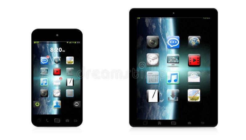 Σύγχρονες ψηφιακές τηλέφωνο και ταμπλέτα στην άσπρη τρισδιάστατη απόδοση υποβάθρου απεικόνιση αποθεμάτων