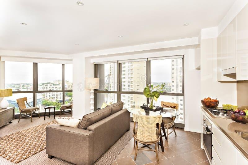 Σύγχρονη άποψη δωματίων κοντά στην κουζίνα με το σύνολο καναπέδων στοκ φωτογραφίες με δικαίωμα ελεύθερης χρήσης
